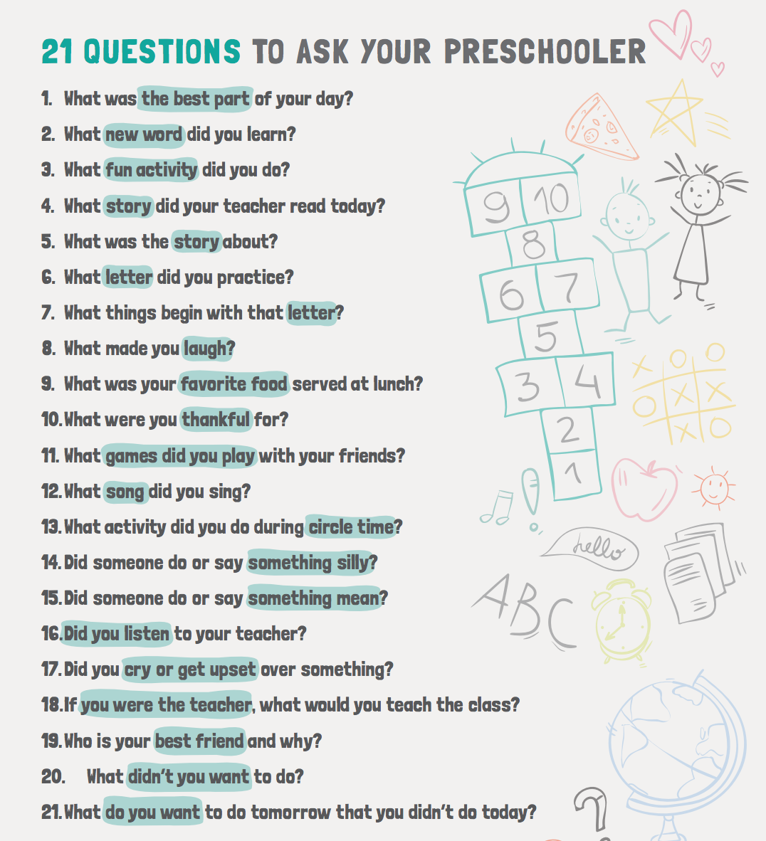 21 Questions To Ask Your Preschooler